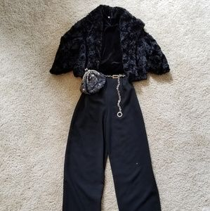EUC- Black Wide Leg Pant with Black Velvet Top